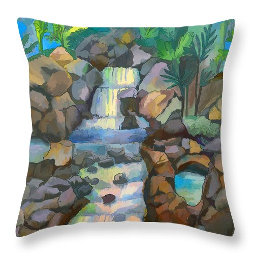 Waterfall Throw Pillow featuring the painting Tropical Rainbow Waterfall by Arline Wagner
