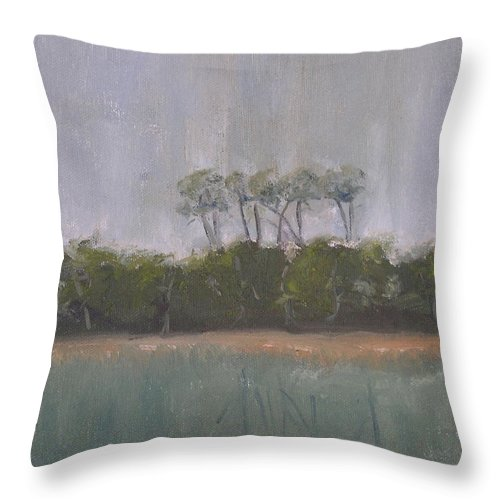 Landscape Beach Coast Tree Water Throw Pillow featuring the painting Tropical Storm by Patricia Caldwell