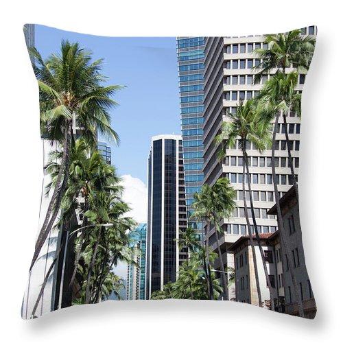 Street Throw Pillow featuring the photograph Tropical Street by Ramunas Bruzas