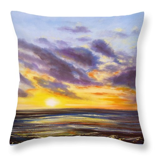 Oil Throw Pillow featuring the painting Tropical Sunset by Gina De Gorna