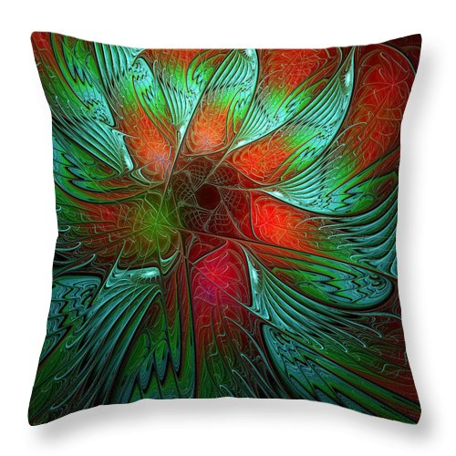 Digital Art Throw Pillow featuring the digital art Tropical Tones by Amanda Moore