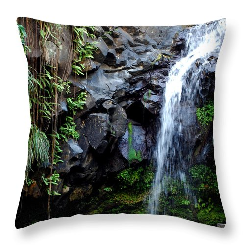 Waterfall Throw Pillow featuring the photograph Tropical Waterfall by Gary Wonning