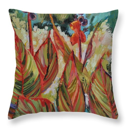 Tropicana Throw Pillow featuring the painting Tropicana by Ginger Concepcion