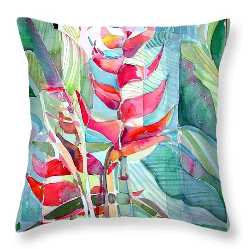 Landscape Throw Pillow featuring the painting Tropicana Red by Mindy Newman