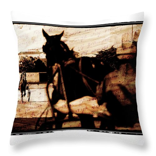 Horse Throw Pillow featuring the photograph trotting 1 - Harness racing in a vintage post processing by Pedro Cardona Llambias