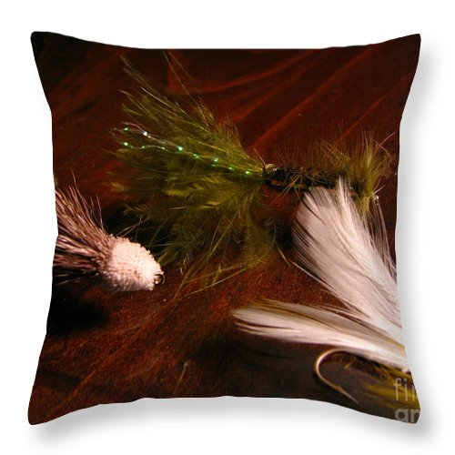 Patzer Throw Pillow featuring the photograph Trout Flys by Greg Patzer