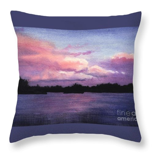 Landscape Throw Pillow featuring the painting Trout Lake Sunset I by Lynn Quinn