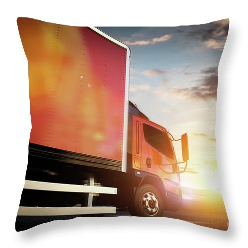 Truck Throw Pillow featuring the photograph Truck Speeding On The Highway. Transportation by Michal Bednarek