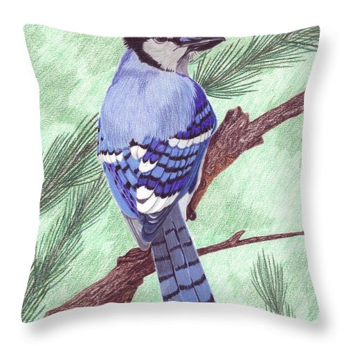 Blue Jay Throw Pillow featuring the painting True Blue by Anita Putman