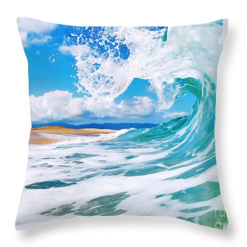 Ocean Throw Pillow featuring the painting True Blue by Paul Topp