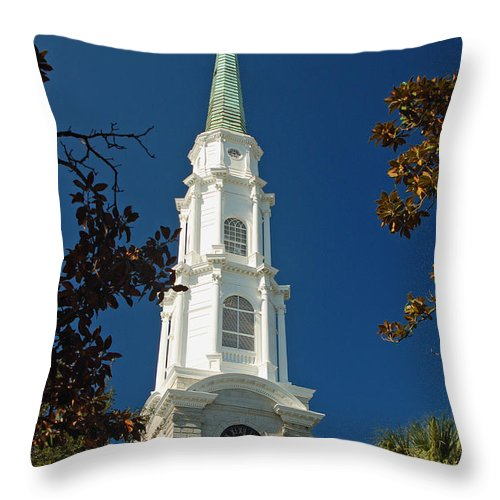 Steeple Throw Pillow featuring the photograph True North - Savannah Steeple by Suzanne Gaff