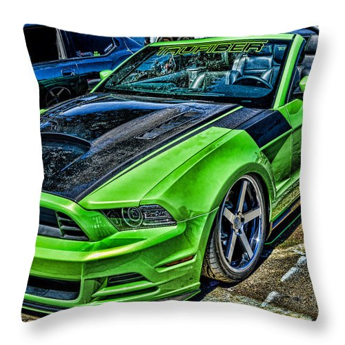 Truefiber Throw Pillow featuring the photograph Truefiber Mustang by Tommy Anderson