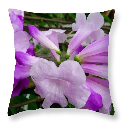 Background Throw Pillow featuring the painting Trumpet Flower 11 by Jeelan Clark