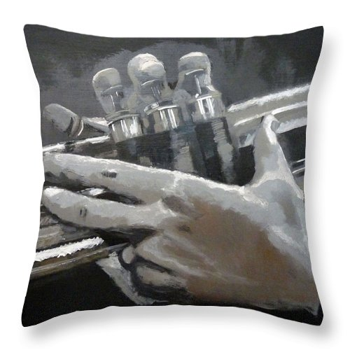Trumpet Valves Throw Pillow featuring the painting Trumpet Hands by Richard Le Page