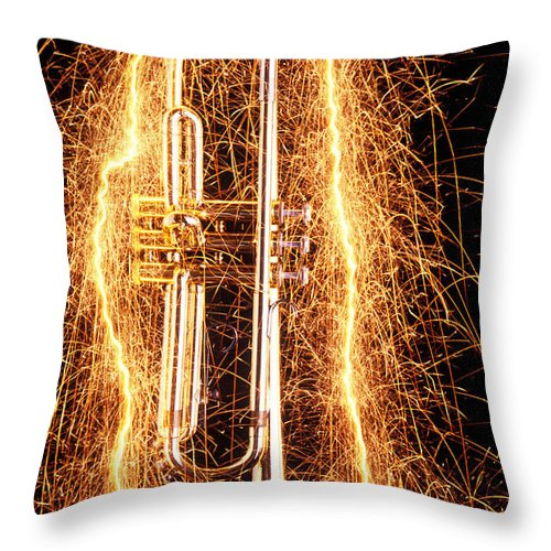 Trumpet Throw Pillow featuring the photograph Trumpet Outlined With Sparks by Garry Gay