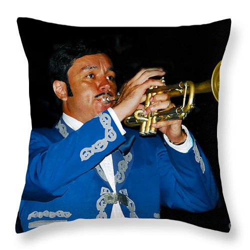 Trumpet5 Throw Pillow featuring the photograph Trumpet Player by David Lee Thompson