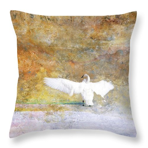 Swan Throw Pillow featuring the photograph Trumpeter Returns by Ed Hall