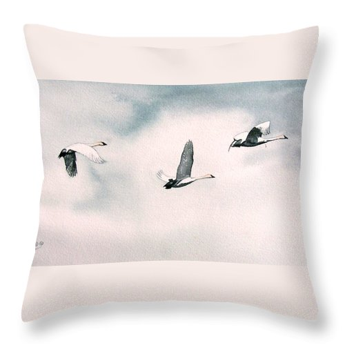 Swans Throw Pillow featuring the painting Trumpeters by Gale Cochran-Smith