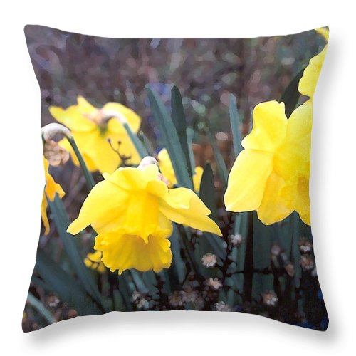 Flowes Throw Pillow featuring the photograph Trumpets Of Spring by Steve Karol