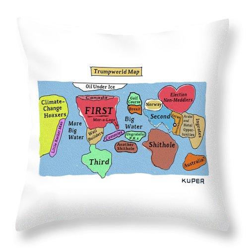 Trumpworld Map Throw Pillow