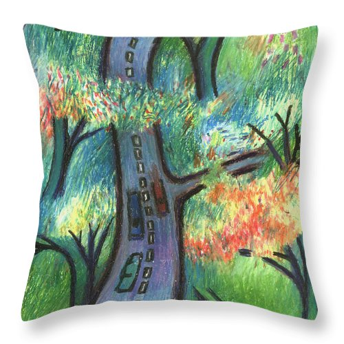 Road Throw Pillow featuring the digital art Trunk Road by Andy Mercer