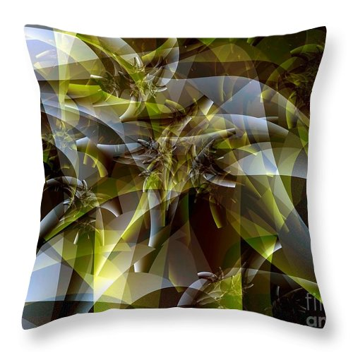 Fractal Art Throw Pillow featuring the digital art Trunks in Green and Gray by Ron Bissett