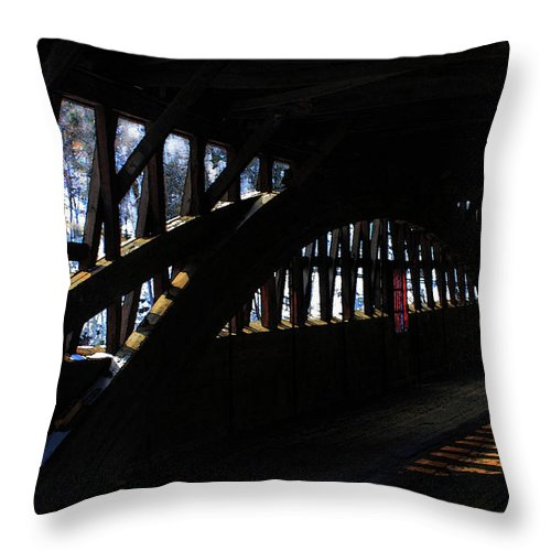 Truss Throw Pillow featuring the photograph Trusses And Light by Wayne King
