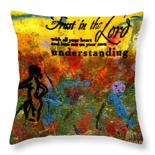 Woman Throw Pillow featuring the mixed media Trust In The Lord by Angela L Walker