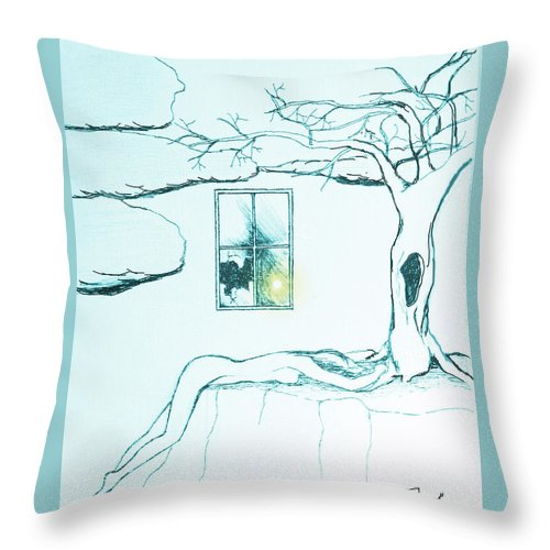 Tree Throw Pillow featuring the drawing Truth by Elly Potamianos