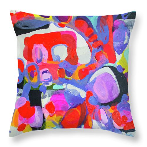 Abstract Throw Pillow featuring the painting Try Me by Claire Desjardins