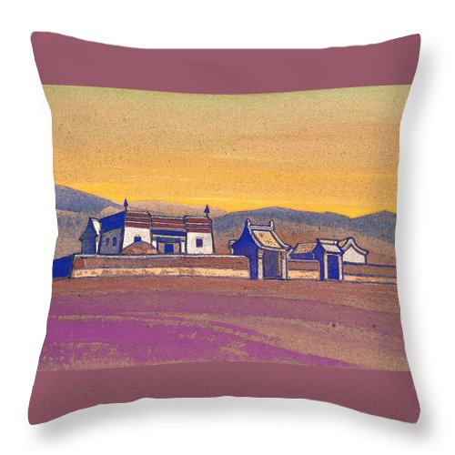 Architectural Throw Pillow featuring the painting Tsagan-kure, Inner Mongolia by Nicholas Roerich