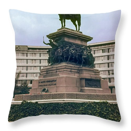 Tsar Alexander Ii Statue Sophia Bulgaria Statues Building Buildings Structure Structures Architecture Flower Flowers Nature Bloom Blooms Landmark Landmarks Throw Pillow featuring the photograph Tsar Alexander II by Bob Phillips