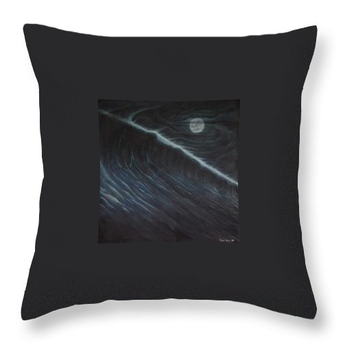 Seascapes Throw Pillow featuring the painting Tsunami by Angel Ortiz