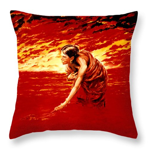 Seascape Throw Pillow featuring the painting Tsunami by Mark Cawood