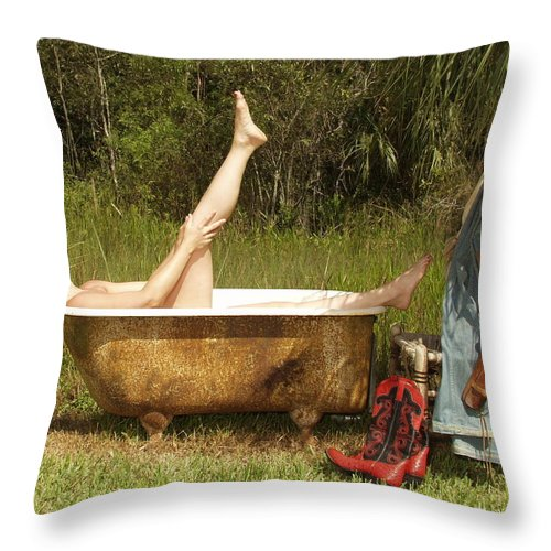 Everglades City Fl.professional Photographer Lucky Cole  Everglades City Photographer Lucky Cole Everglades City Glamour  Everglades City Beauty Everglades City Fl.photographer Lucky Cole  Angels Sexy Exotic Natural Beauty Glamorous Environmental Portraits Female Natural Settings  Exotic Beauty Wildlife  Everglades City Florida  Naples Florida Professional Photographer Lucky Cole Loop Road Throw Pillow featuring the photograph Tub 300 by Lucky Cole