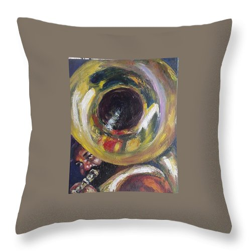 Tuba. Tuba Fats Throw Pillow featuring the painting Tuba Fats by Beverly Boulet