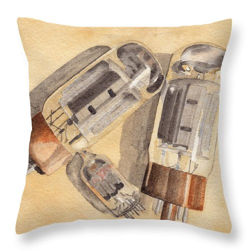 Vacuum Throw Pillow featuring the painting Tubes by Ken Powers