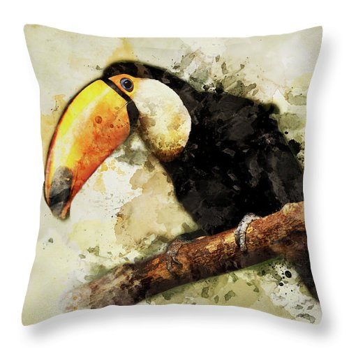 Bird Throw Pillow featuring the photograph Tucan On The Branch by Jaroslaw Blaminsky