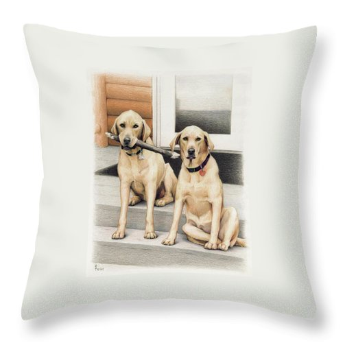 Dogs Throw Pillow featuring the drawing Tucker And Lily by Amy S Turner