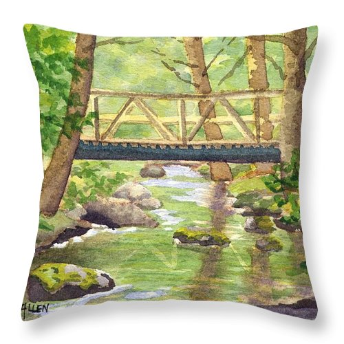 Stream Throw Pillow featuring the painting Tuckers Brook by Sharon E Allen
