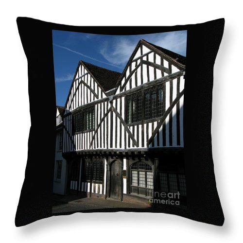 Tudor Throw Pillow featuring the photograph Tudor Timber by Ann Horn