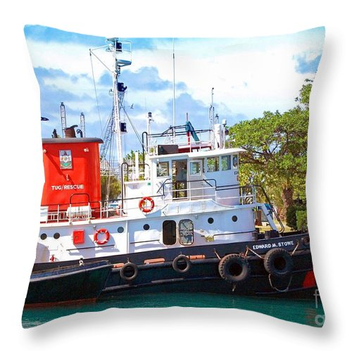 Boat Throw Pillow featuring the photograph Tug On It by Debbi Granruth