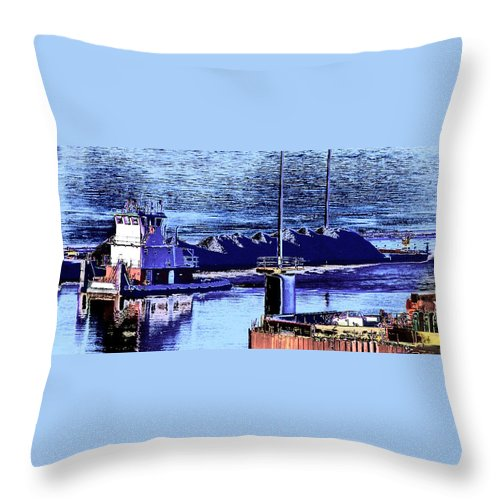 Abstract Throw Pillow featuring the photograph Tug Reflections by Rachel Christine Nowicki