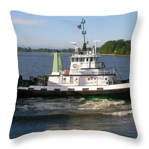 Tug Throw Pillow featuring the photograph Tugboat America by Alan Espasandin