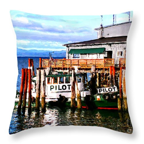 Tugboast At Rest Throw Pillow featuring the painting Tugboat At Rest by Methune Hively
