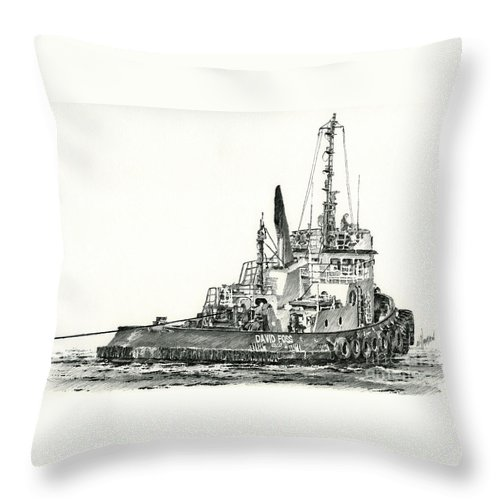 Tug Throw Pillow featuring the drawing Tugboat David Foss by James Williamson