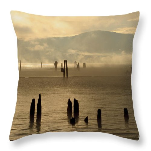 Tugboat Throw Pillow featuring the photograph Tugboat In The Mist by Idaho Scenic Images Linda Lantzy