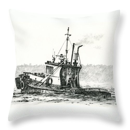 Tug Throw Pillow featuring the drawing Tugboat Lela Foss by James Williamson