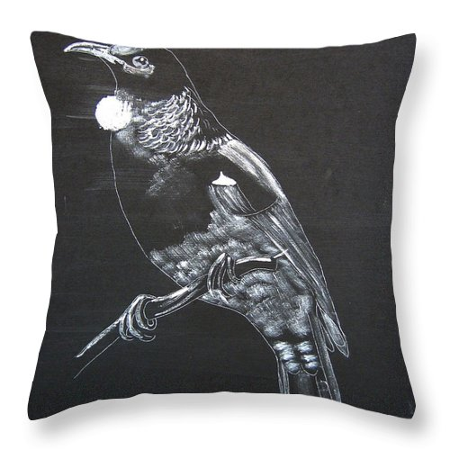 Tui Throw Pillow featuring the painting Tui by Richard Le Page