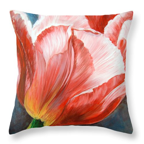 Flower Throw Pillow featuring the painting Tulip by Anju Saran